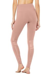 Alo Yoga XS High-Waist Moto Legging - Smoky Quartz Glossy