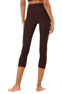 Alo Yoga SMALL High-Waist Airlift Capri - Oxblood
