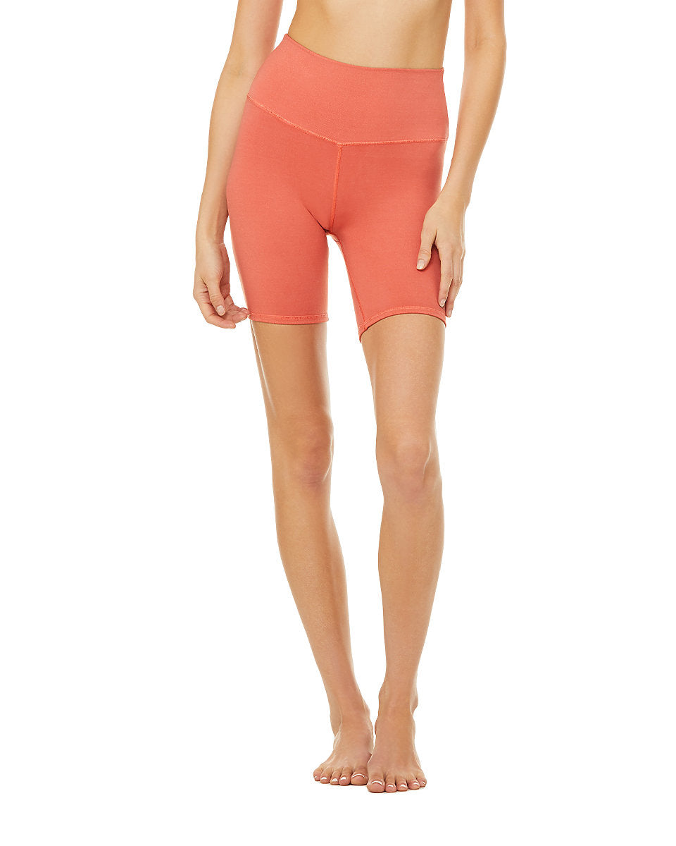 Alo Yoga XS High-Waist Biker Short - Strawberry