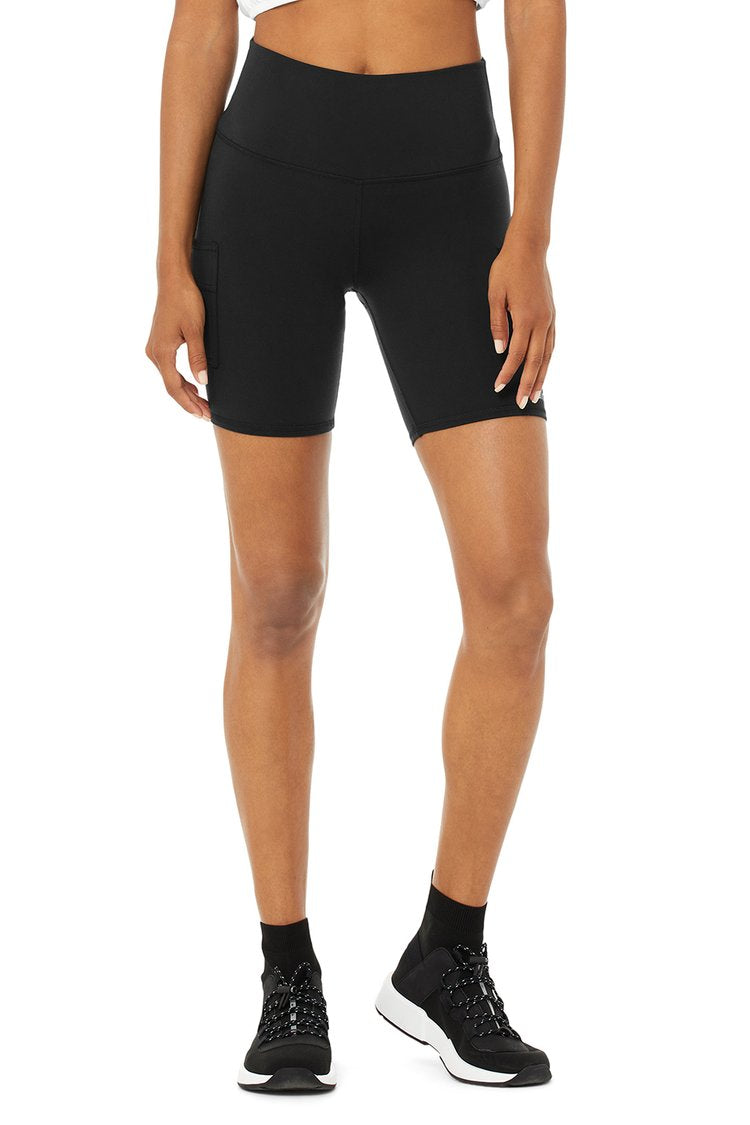 Alo Yoga XS High-Waist Cargo Biker Short - Black