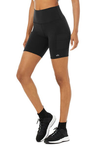 Alo Yoga SMALL High-Waist Cargo Biker Short - Black