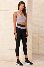 Load image into Gallery viewer, Alo Yoga SMALL High-Waist Fitness Capri - Black/Lavender Smoke