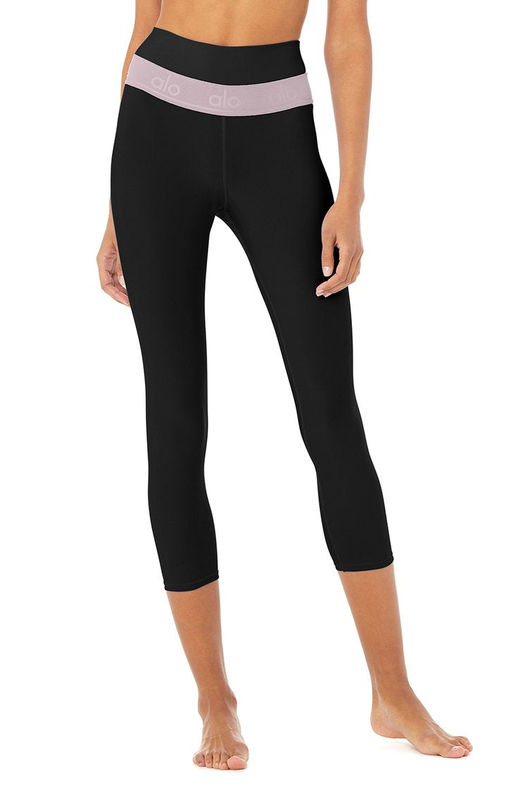 Alo Yoga XS High-Waist Fitness Capri - Black/Lavender Smoke