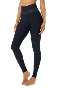 Alo Yoga XS High-Waist Fitness Legging - Dark Navy/Black