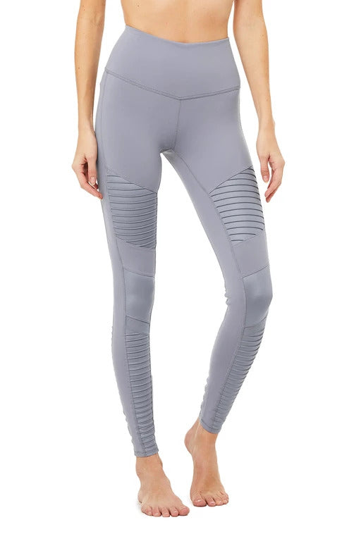 Alo Yoga SMALL High-Waist Moto Legging - Blue Haze Glossy