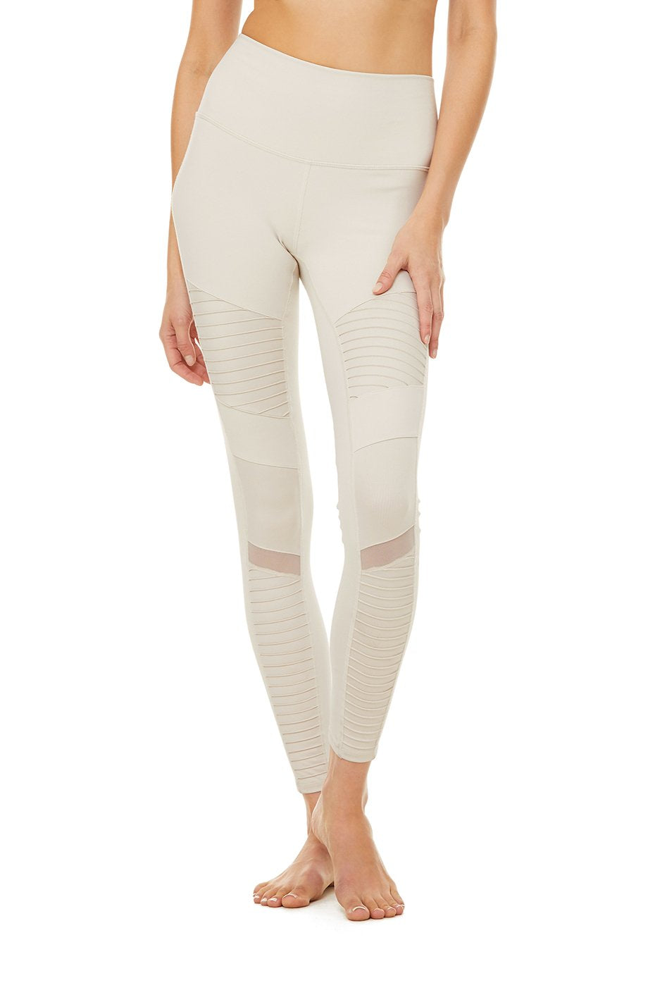 Alo Yoga XXS High-Waist Moto Legging - Bone Glossy