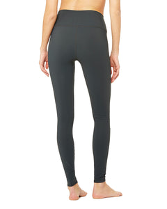 Alo Yoga XS High-Waist Ripped Warrior Legging - Anthracite