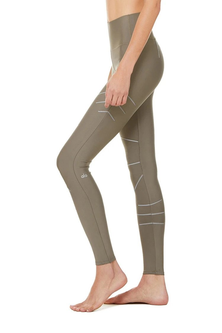 Alo Yoga XXS High-Waist Sequence Legging - Olive Branch