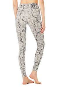 Alo Yoga XS High-Waist Snakeskin Vapor Legging - Bone