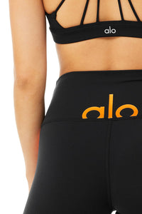 Alo Yoga XXS High-Waist Spin Short - Black/Tangerine