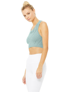 Alo Yoga Lark Crop Top - Seagrass Heather