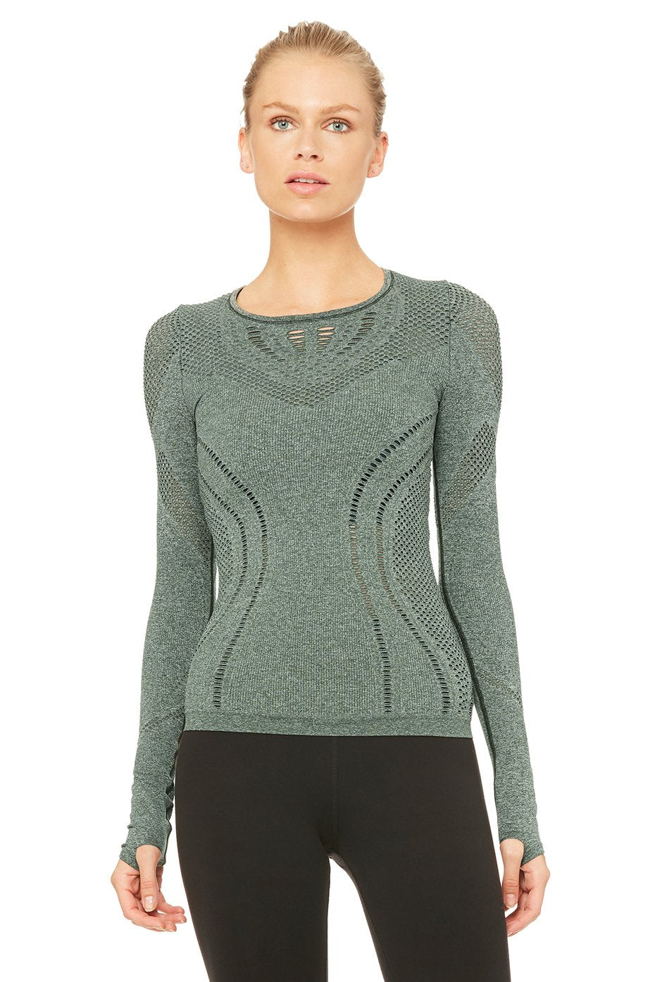 Alo Yoga Lark Long Sleeve Top - Hunter Heather