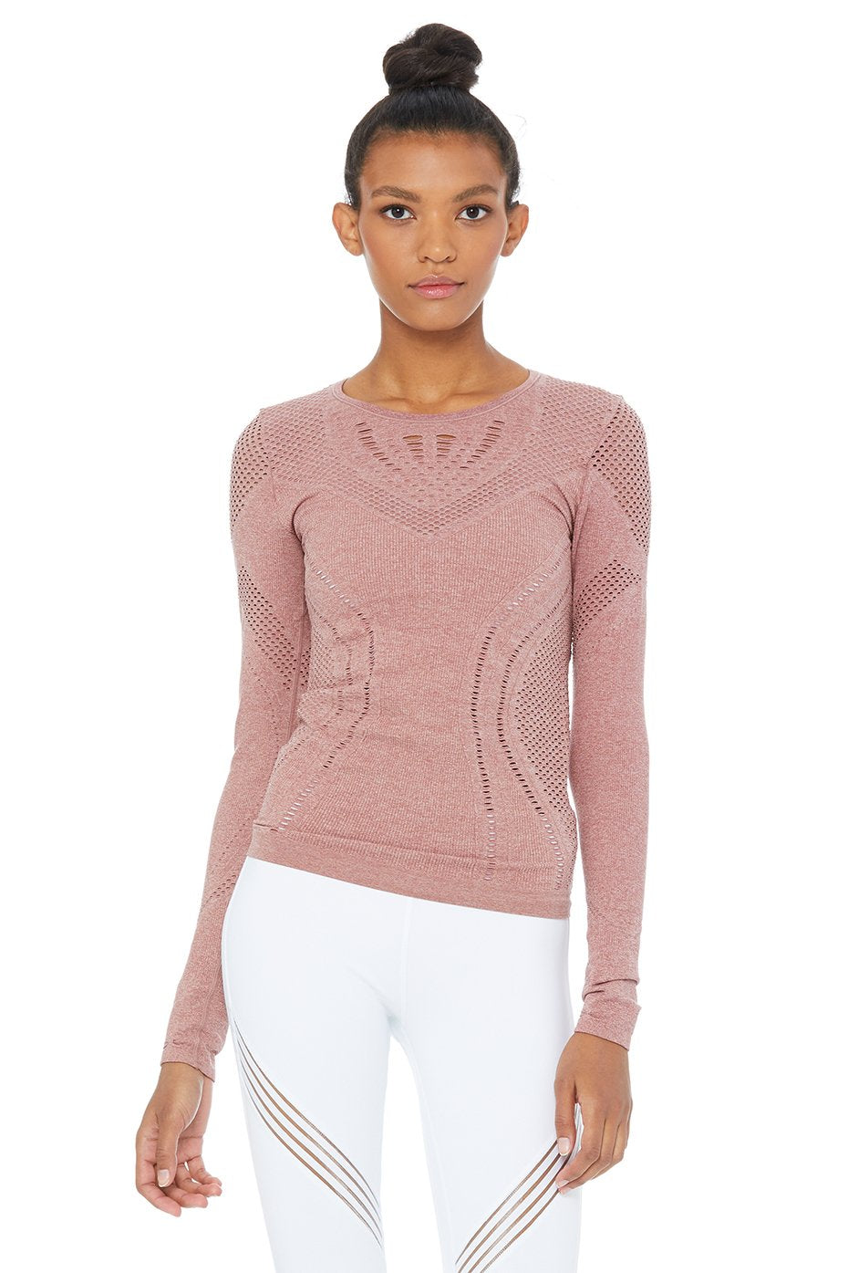 Alo Yoga Lark Long Sleeve Top - Rosewater Heather