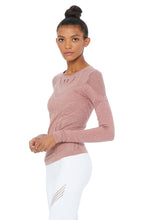 Load image into Gallery viewer, Alo Yoga Lark Long Sleeve Top - Rosewater Heather