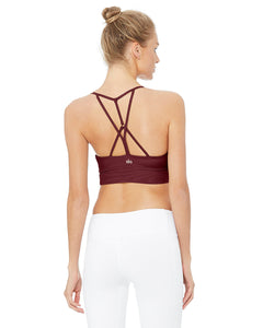 Alo Yoga MEDIUM Lavish Bra - Black Cherry Glossy