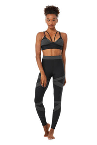 Alo Yoga XS Level Up Bra - Black/Anthracite Heather