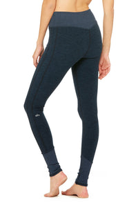 Alo Yoga XXS High-Waist Alosoft Lounge Legging - Rich Navy Heather