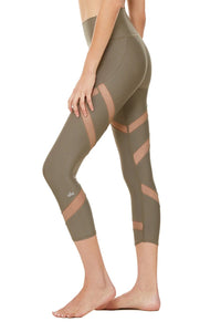 Alo Yoga SMALL High-Waist Mesmerize Capri - Olive Branch
