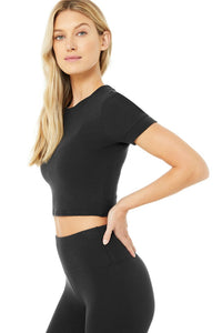 Alo Yoga XS Micro Waffle Sierra Short Sleeve Top - Black