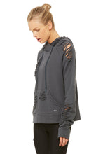 Load image into Gallery viewer, Alo Yoga Ripped Hoodie - Anthracite Distress Holes