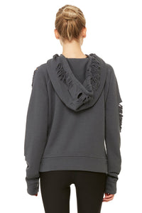 Alo Yoga Ripped Hoodie - Anthracite Distress Holes