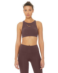 Alo Yoga SMALL Ripped Warrior Bra - Raisin