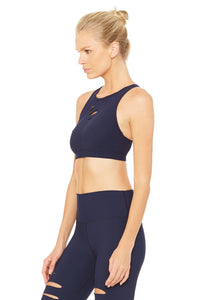 Alo Yoga XS Ripped Warrior Bra - Rich Navy