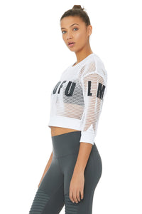 Alo Yoga Structured Graphic Mesh Pullover - White Mindful Movement