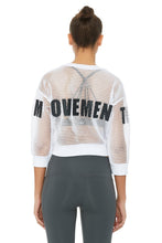 Load image into Gallery viewer, Alo Yoga Structured Graphic Mesh Pullover - White Mindful Movement