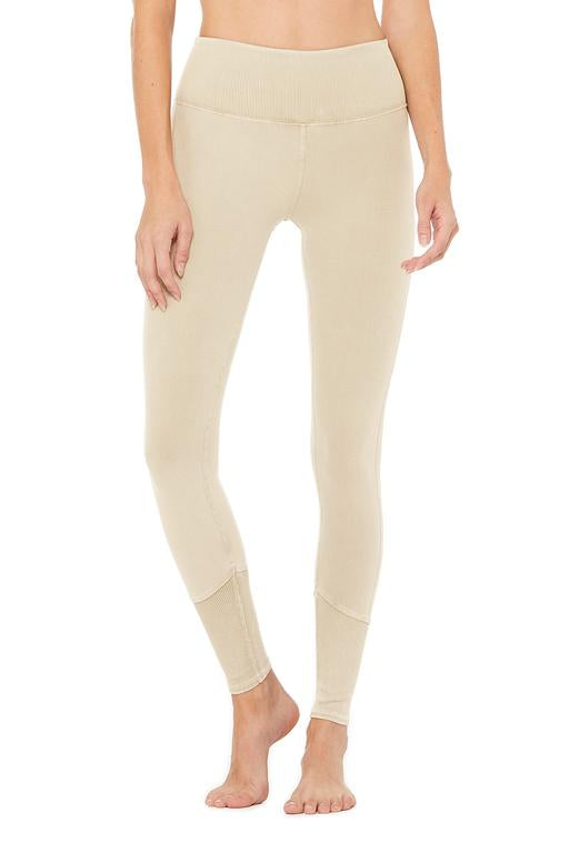 Alo Yoga SMALL High-Waist Sueded Lounge Legging - Sandstone Wash
