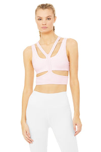 Alo Yoga MEDIUM Trackie Bra - Soft Pink