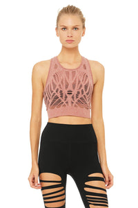 Alo Yoga Vixen Fitted Crop Tank - Earth Heather