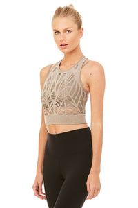 Alo Yoga Vixen Fitted Crop Tank - Gravel Heather