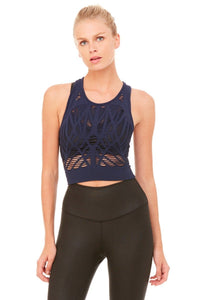 Alo Yoga Vixen Fitted Crop Tank - Rich Navy