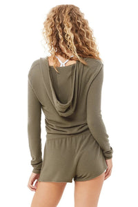 Alo Yoga SMALL Wrap Hoodie - Olive Branch