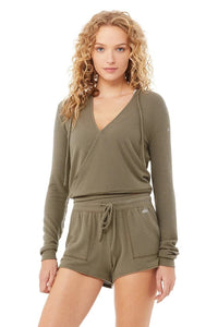 Alo Yoga XS Wrap Hoodie - Olive Branch