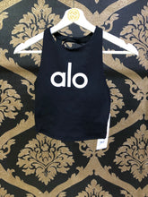 Load image into Gallery viewer, Alo Yoga XS Movement Logo Bra - Black/White