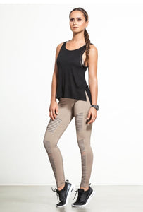Alo Yoga SMALL High-Waist Moto Legging - Gravel Glossy
