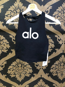 Alo Yoga SMALL Movement Logo Bra - Black/White