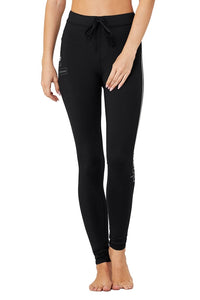 Alo Yoga XS High-Waist Graphic Trinity Legging - Black/Anthracite