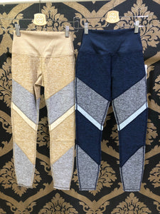 Alo Yoga XXS 7/8 High-Waist Alosoft Sheila Legging - Rich Navy Heather/Dove Gray Heather/Zinc Heather