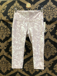 "Lululemon LARGE Wunder Under High-Rise Crop 21"" Flux - Shadow Leaf Light Ivory Muse / Light Ivory"