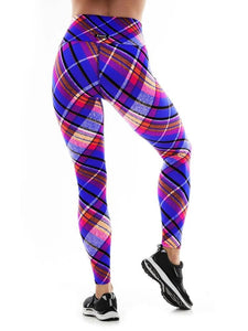 K-Deer SMALL Textured Plaid 7/8 Sneaker Length Legging - Flex