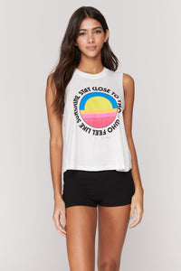 Spiritual Gangster SMALL Sunshine Crop Tank - Stone