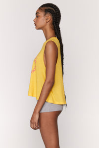 Spiritual Gangster SMALL Trust The Timing Crop Tank - Lemon