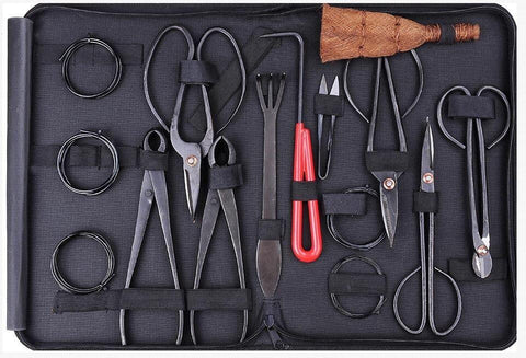 Brand new bonsai tools set multi-function bonsai kit 10-piece set Carbon Steel Shear Set and Tool Kit /Roll Wires