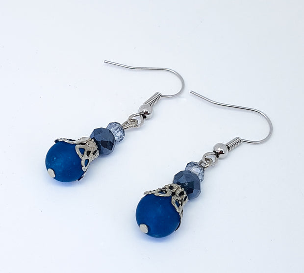 Blue Agate and Crystal Meditation Earrings
