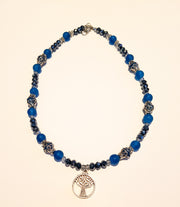 Blue Agate and Crystal Meditation Pendant necklace choker