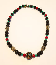 stone bead and Turquoise Crystal Necklace with Metal elements