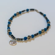 Blue Agate and Crystal Meditation Pendant necklace